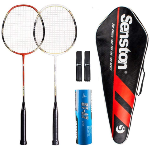 Senston 2 Player Badminton Racket Set Carbon Shaft Racket