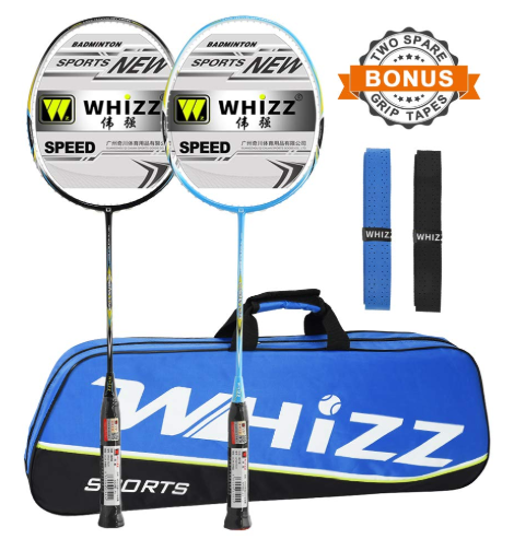 WHIZZ 2 player graphite frame badminton racket set